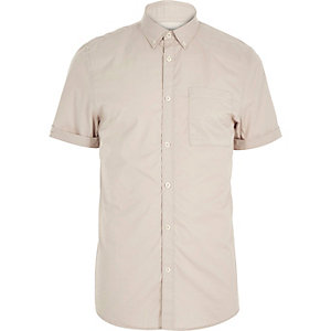 Ecru twill short sleeve shirt