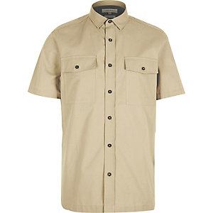 Ecru utility short sleeve shirt