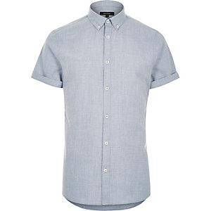Blue flannel slim short sleeve shirt