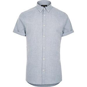 Blue flannel slim short sleeve shirt