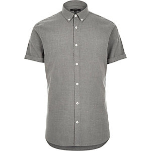 Grey flannel short sleeve shirt