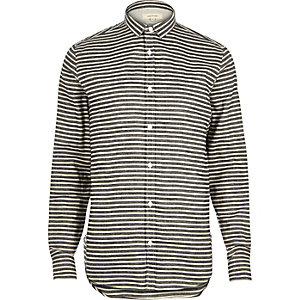 Grey herringbone stripe shirt