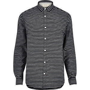 Navy herringbone stripe shirt