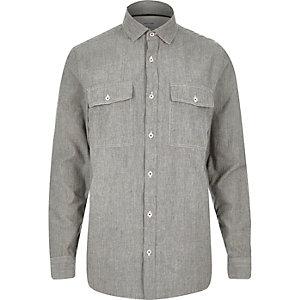 Grey stripe twill two pocket shirt