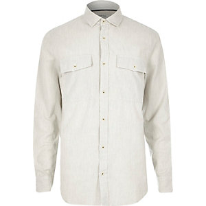 White stripe twill two pocket shirt