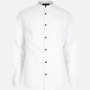 White smart grandad collar shirt
