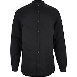 Black smart grandad collar shirt
