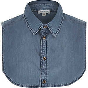 Blue denim mock shirt collar
