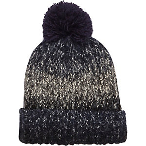 Blue faded beanie bobble hat