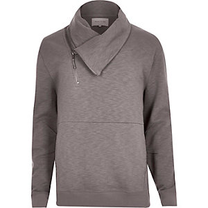 Grey asymmetric cross neck sweatshirt