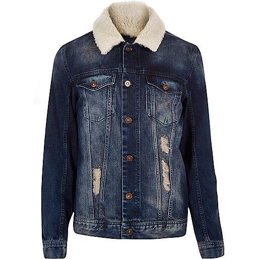 Veste en jean délavage foncé avec col imitation mouton