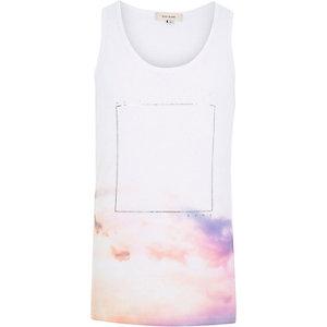 White dusk dawn print vest