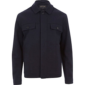 Navy wool-blend harrington jacket