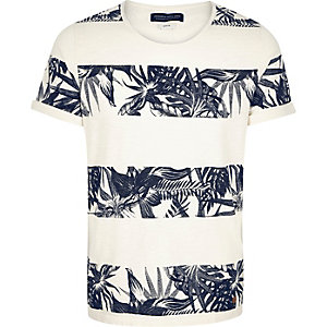 White Jack & Jones Vintage floral t-shirt