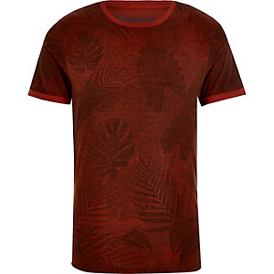 Red Jack & Jones Vintage leaf print t-shirt