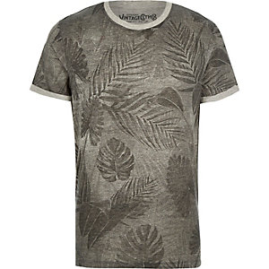Grey Jack & Jones Vintage leaf print t-shirt