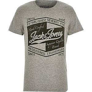 Grey Jack & Jones Vintage brand print t-shirt