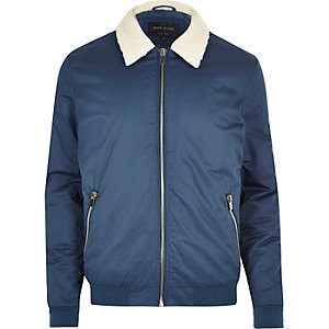 Blue casual borg collar jacket
