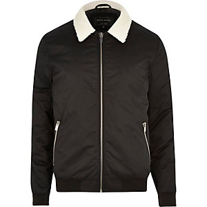 Black casual borg collar jacket