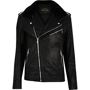 Black faux-fur collar biker jacket