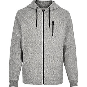 Light grey marl zip through hoodie