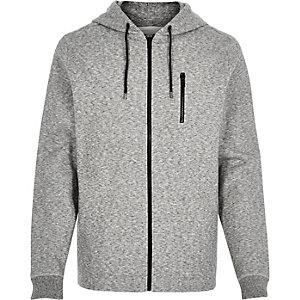 Light grey marl zip through hoodie