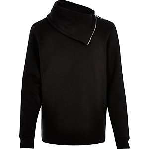 Black side neck zip sweatshirt
