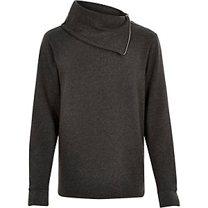 Dark grey side neck zip sweatshirt