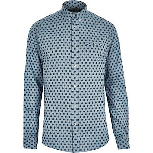 Blue Jack & Jones Vintage spot print shirt