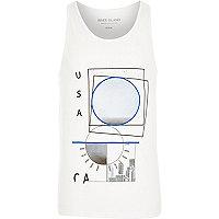 White USA snapshot print vest