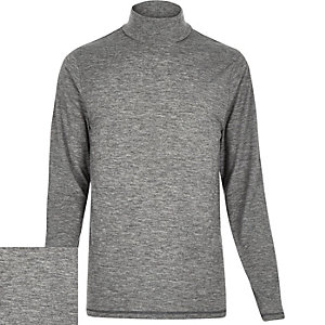 Grey jersey roll neck