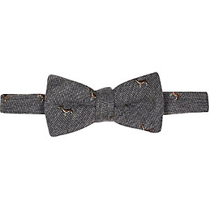 Grey dog print bow tie