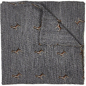 Grey dog embroidered pocket square