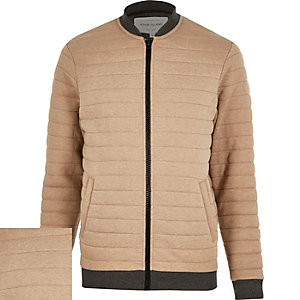 Light brown quilted bomber jacket