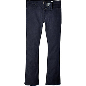 Dark wash raw hem Ant skinny kickflare jeans