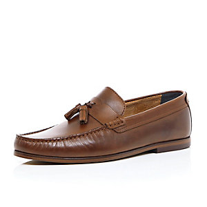 Brown leather slip on tassel loafers