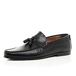 Black leather slip on tassel loafers
