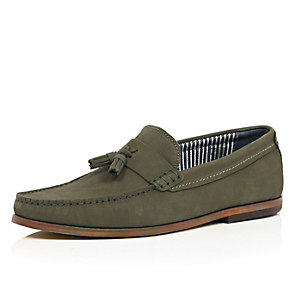 Dark green nubuck leather tassel loafers