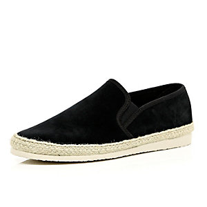 Black suede slip on plimsolls