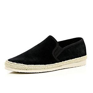 Black suede slip on plimsolls