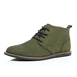 Dark green nubuck lace up desert boots