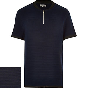 Navy zip front t-shirt