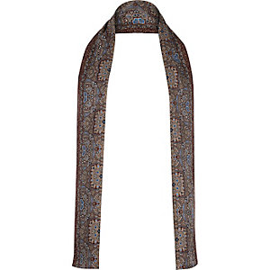 Red paisley formal skinny scarf