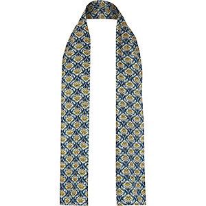 Navy floral print skinny scarf