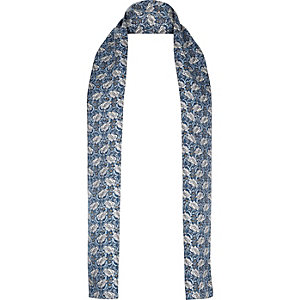 Blue floral print formal skinny scarf