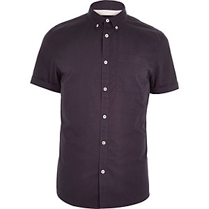 Dark purple twill short sleeve shirt