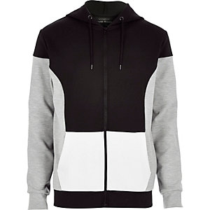 Black colour block hoodie