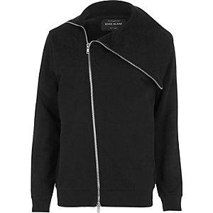 Black asymmetric zip front jacket