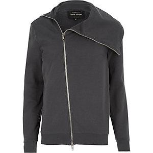 Dark grey asymmetric zip front jacket