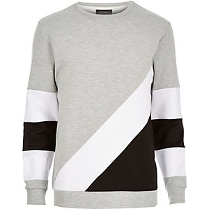 Grey colour block panel sweatshirt